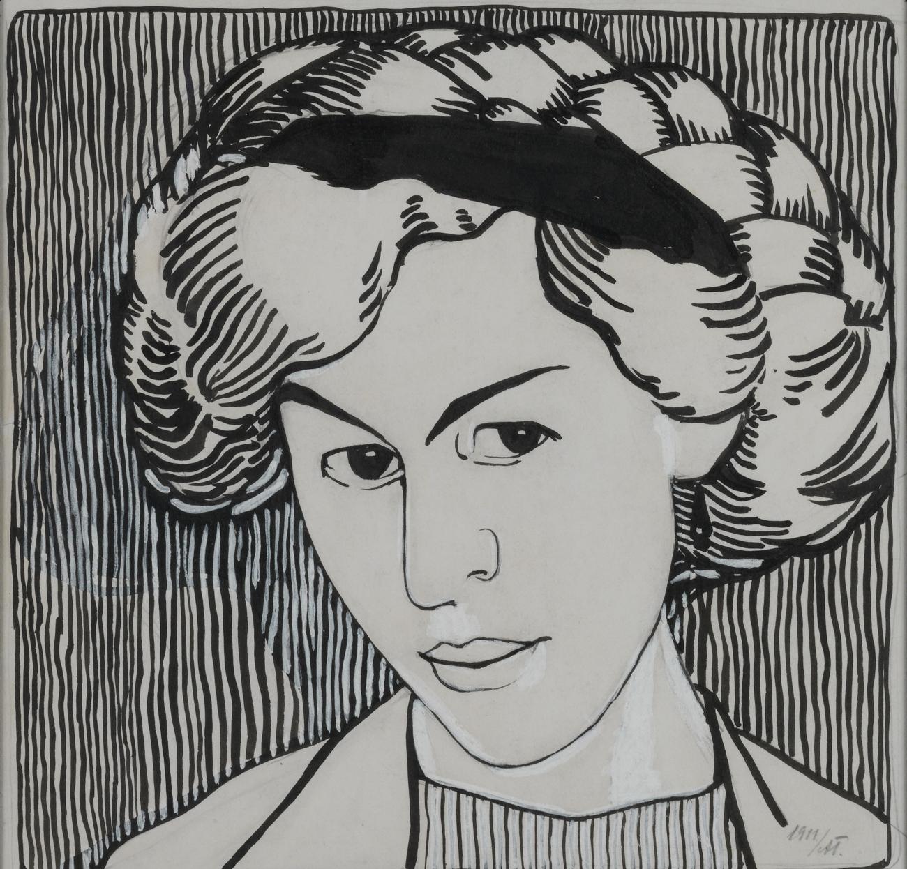 Portrait of Wanda Monastyrska, 1911 - Alexander Bogomazov