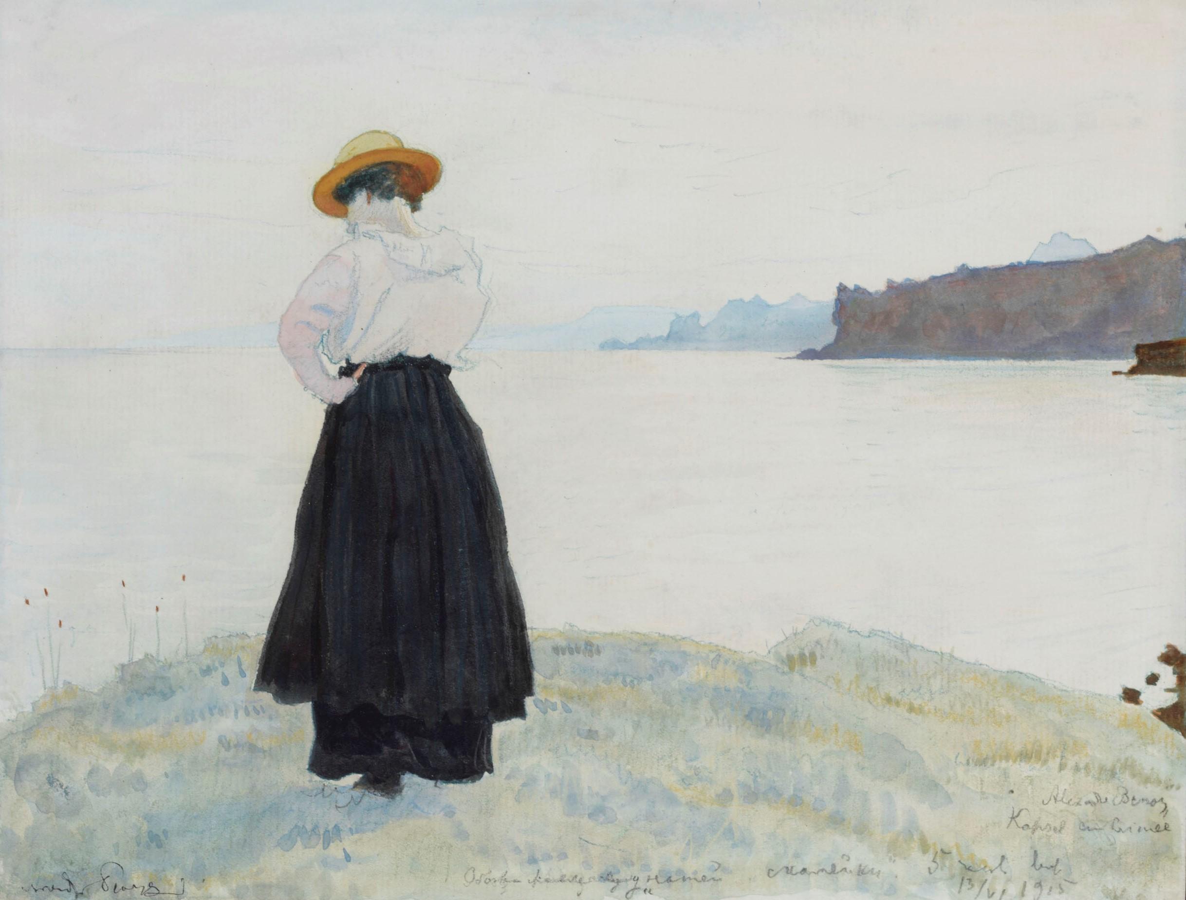 The Crimea. The Artist's wife, Anna on the sea shore, 1915 - Alexander Benois