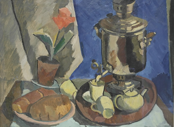 Still Life With a Samovar and a Flower, 1925-28 - Alexander Rusakov
