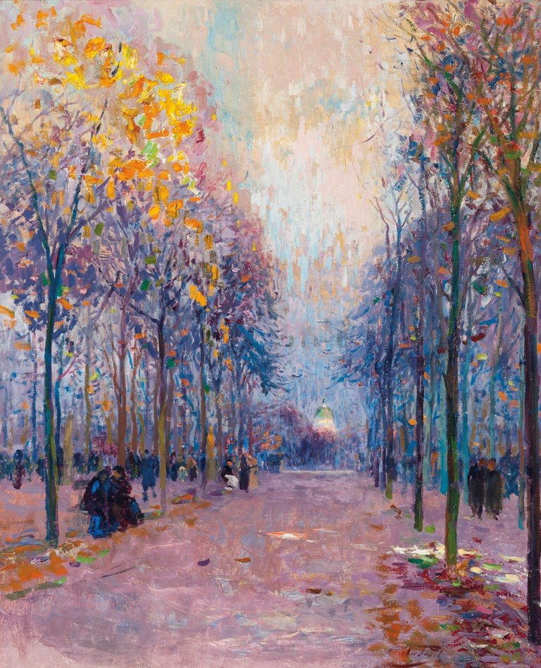 Figures taking a stroll in the Luxembourg Gardens, the Pantheon beyond - Elie Anatole Pavil