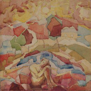 Nude in a mountainous landscape