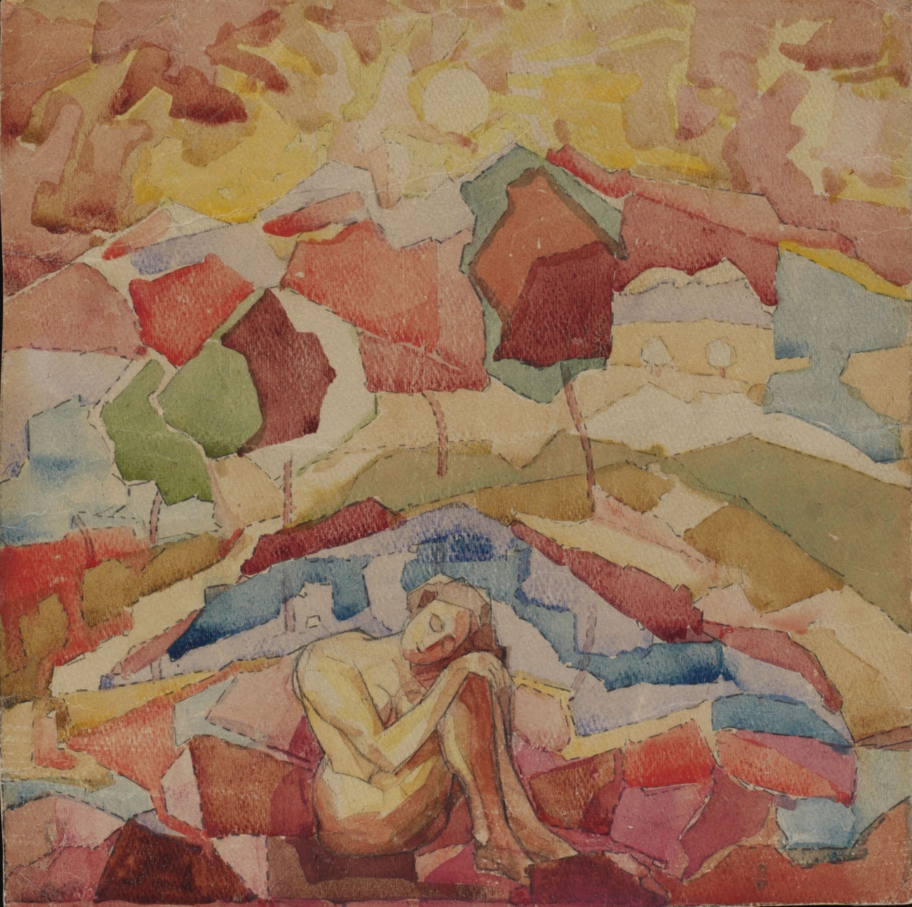 Nude in a mountainous landscape, 1915 - Alexander Volkov