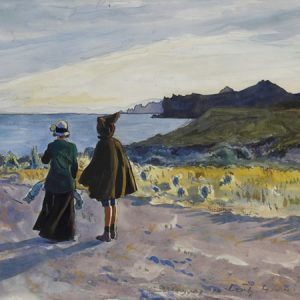 Kopsel. The Crimea, the artist's wife and son, Nicola on a path