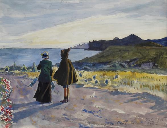 Kopsel. The Crimea, the artist's wife and son, Nicola on a path, 1915 - Alexander Benois