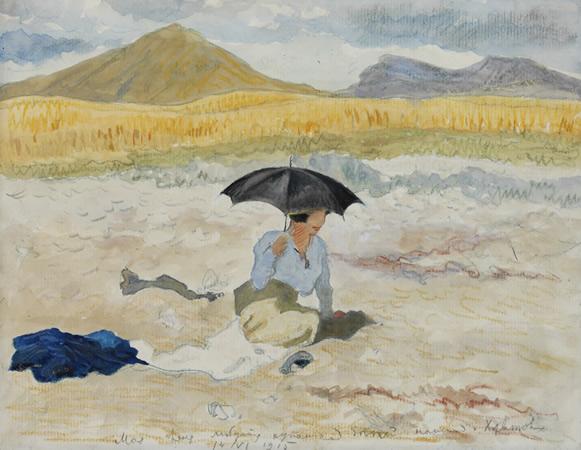 Kopsel. The Crimea, the artist's wife under a parasol, 1915 - Alexander Benois