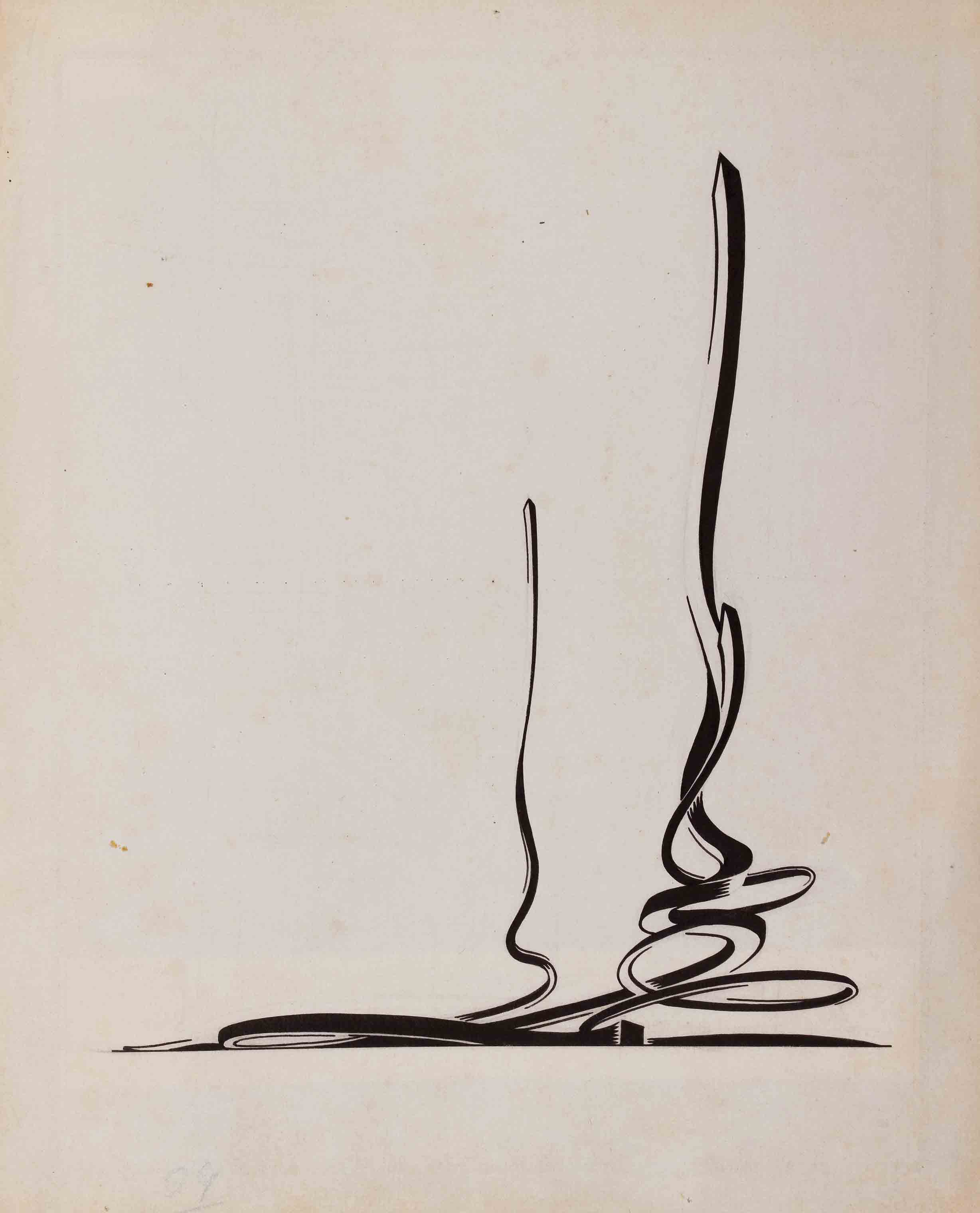 Composition with Dynamic Features and a Complicated Curving Body, late 1920s - Yakov Chernikhov