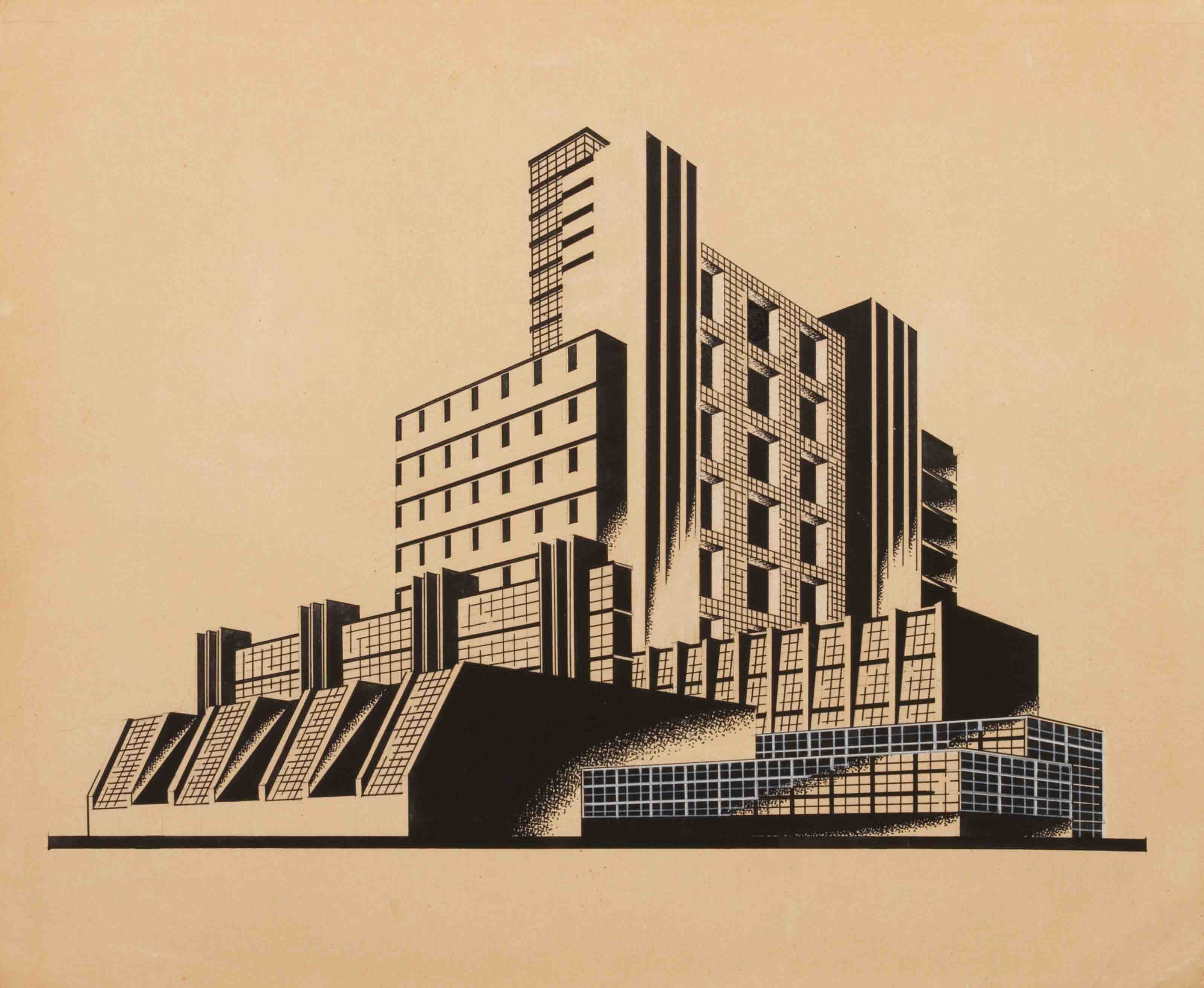 I-JA Synthetic Silk Factory (first variant) from the series The Construction of Architectural and Machine Forms, late 1920s - Yakov Chernikhov