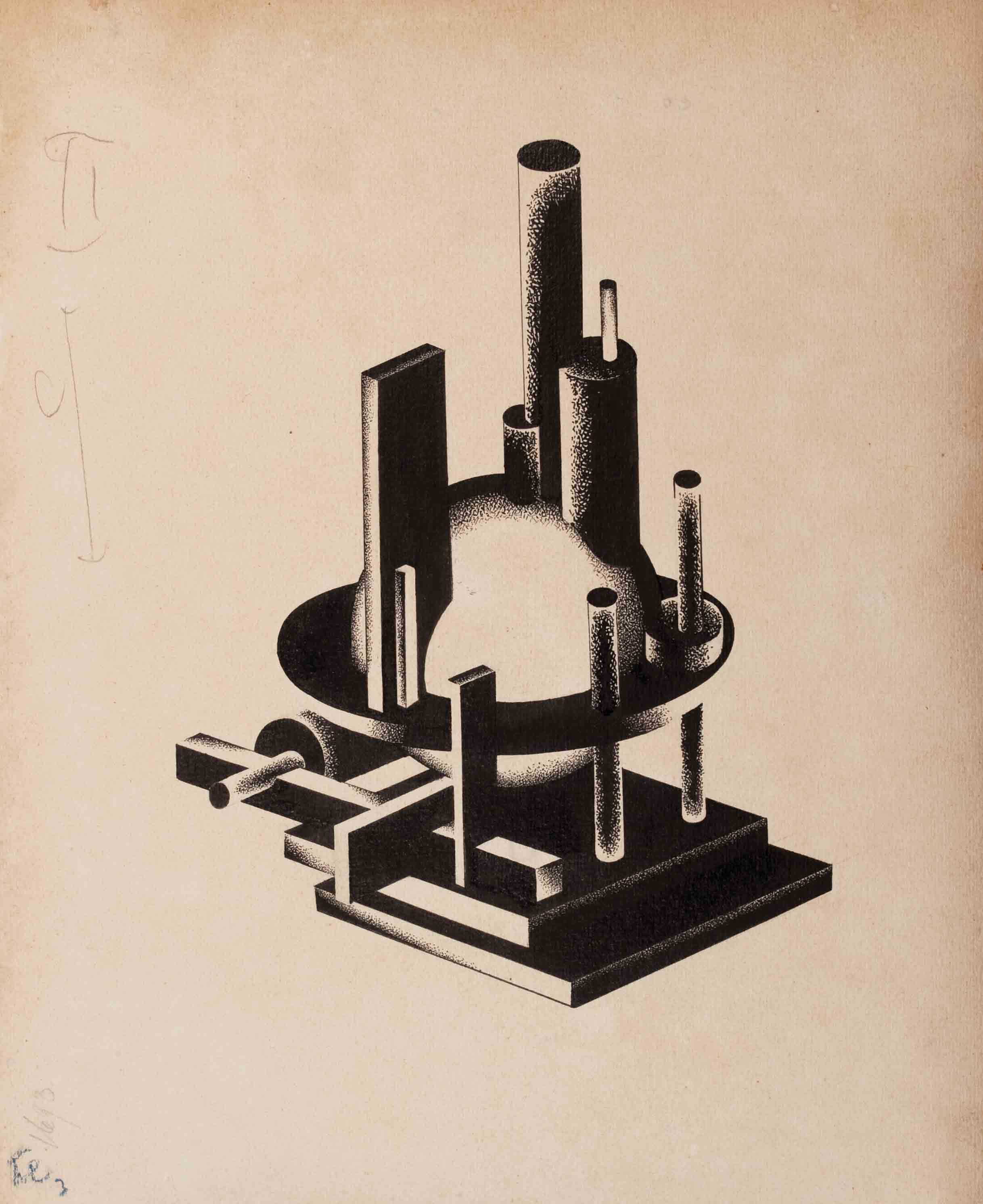 The Constructed Play of Cylindrical, Conical and Spherical Volumes Amongst Themselves that Supports the Through Thrust of Different Angles, late 1920s - Yakov Chernikhov