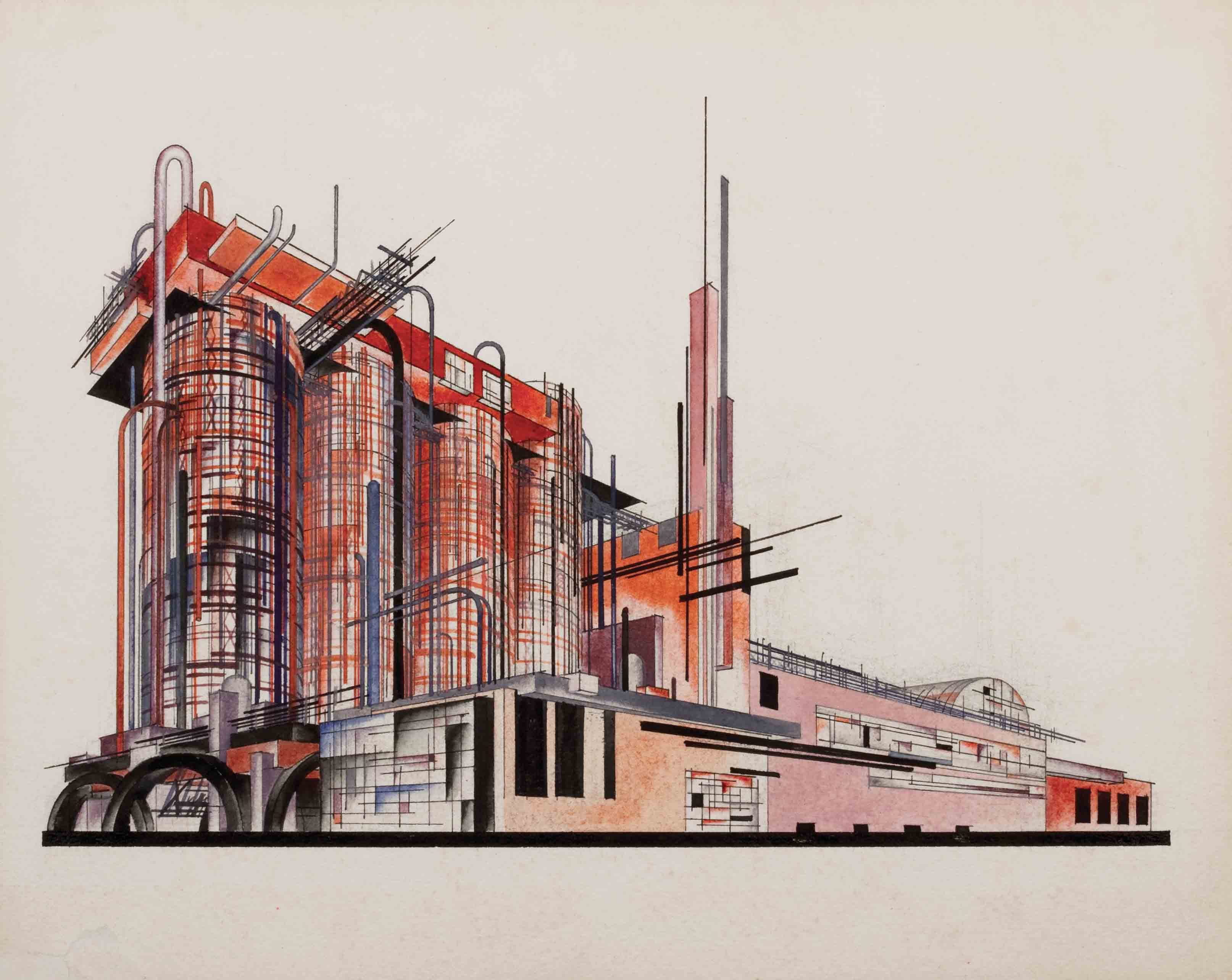 Composition on the Theme of a Sulphuric Acid Factory from the series Fundamentals of Modern Architecture, 1920s - Yakov Chernikhov