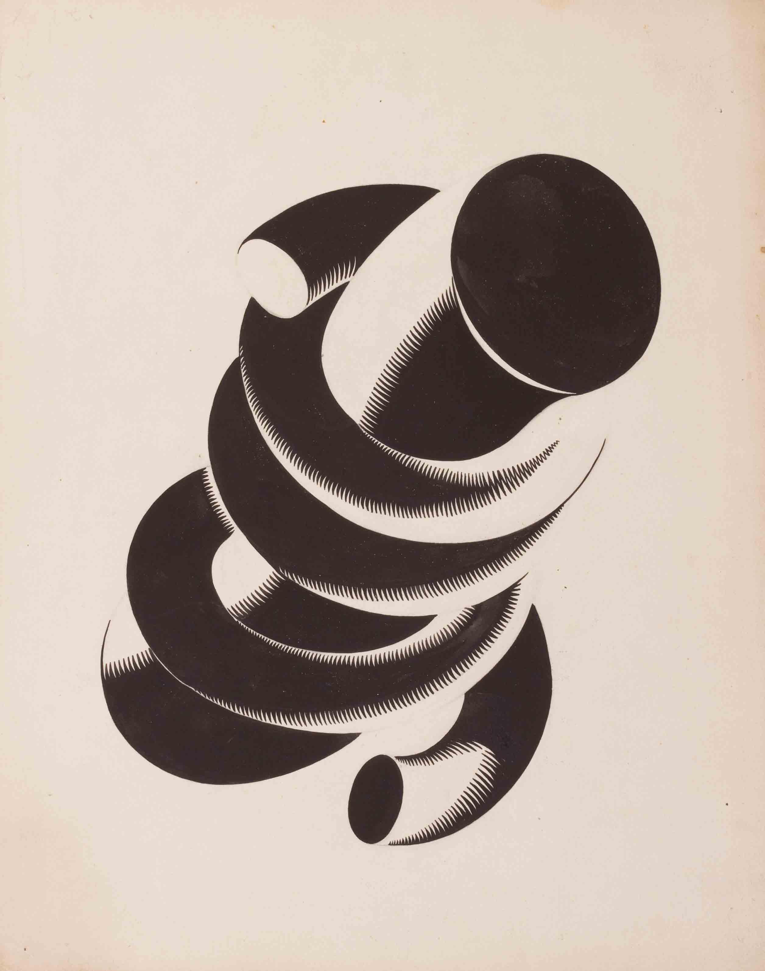 Demonstration of the Scope of a Cylindrical, Curved Form by Insertion of a Cylindrical Rod, mid 1920s - Yakov Chernikhov